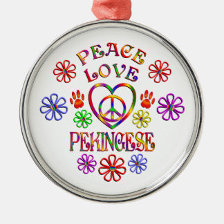 FriedensLiebe Pekingese Silbernes Ornament