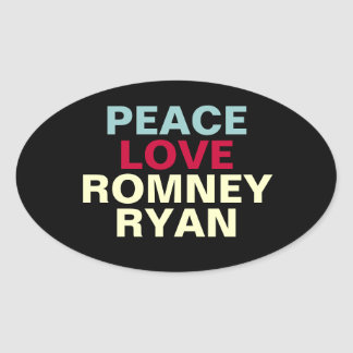 FriedensLiebe Romney Ryan Oval-Aufkleber Ovaler Aufkleber