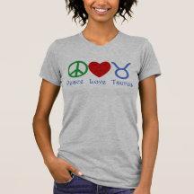 FriedensLiebe-Stier-Astrologie-Produkte T-Shirts