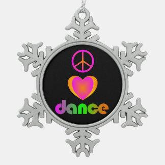 FriedensLiebe-Tanz Schneeflocken Zinn-Ornament