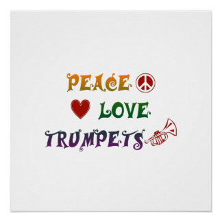 FriedensLiebe-Trompeteregenbogen Poster