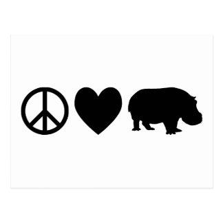 FriedensLiebe und -flusspferde Postkarte