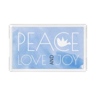 FriedensLiebe und -freude blauer Watercolor Acryl Tablett