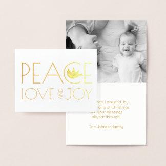 FriedensLiebe und Freudetaube WeihnachtsFotogold Folienkarte