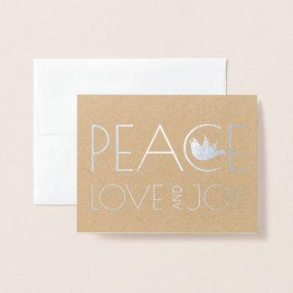 FriedensLiebe und Freudetaube WeihnachtsFotosilber Folienkarte