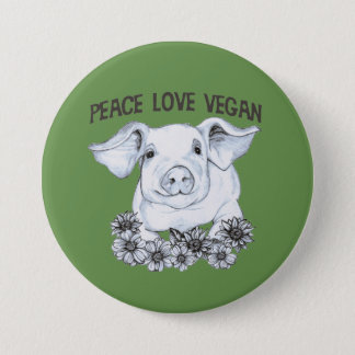 FriedensLiebe-veganer Schwein-Knopf Runder Button 7,6 Cm