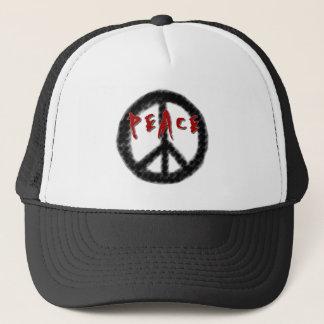 Friedensschwarzes und -ROT Truckerkappe