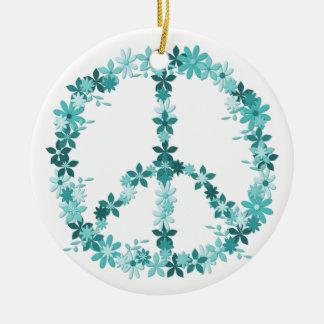 Friedenssymbol-Blumen-Power Keramik Ornament