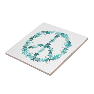 Friedenssymbol-Blumen-Power Keramikfliese