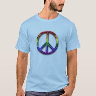 Friedenssymbol-der Männer des Regenbogen-3D der T T-Shirt