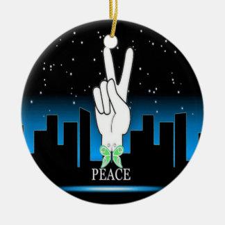 Friedenssymbol mit einem Stadt-Hintergrund Keramik Ornament