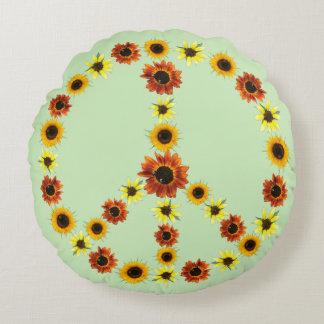 Friedenszeichen der Sonnenblumen, blasse e-grün Rundes Kissen