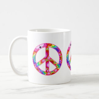 Friedenszeichen-Fraktal-Groovy Reise Kaffeetasse