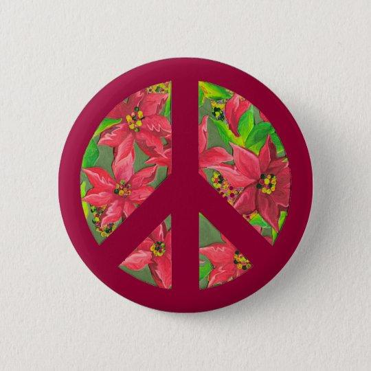 Friedenszeichen-Poinsettia WeihnachtsButton Runder Button 5,7 Cm