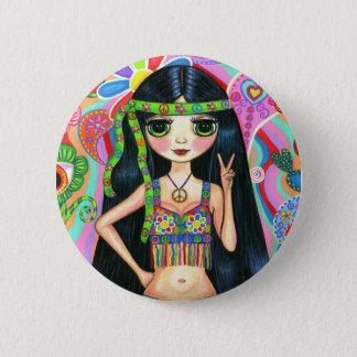 Friedenszeichenhippie-Mädchen-Knopf Runder Button 5,7 Cm
