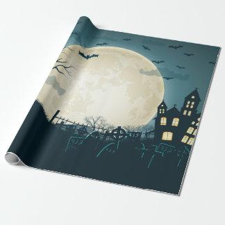 Friedhof mit Kürbisen, Schläger, toter Baum, Mond Geschenkpapier