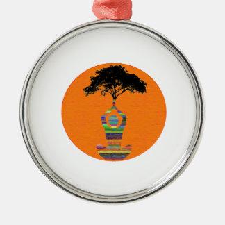 Friedliche Meditation Silbernes Ornament