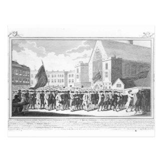 Friedliche Prozession der Mitglieder des Postkarten