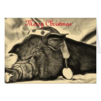 Friedliche Schwein-Weihnachtskarte Karte