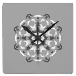 Friedlicher grauer Mandalaheilender Vibes Quadratische Wanduhr