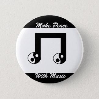Friedlicher Musik-Knopf Runder Button 5,7 Cm