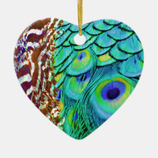 Friedlicher Pfau-Fluss Keramik Herz-Ornament