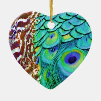 Friedlicher Pfau-Fluss Keramik Ornament