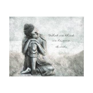 Friedlicher silberner Buddha mit Klugheits-Zitat Leinwanddruck