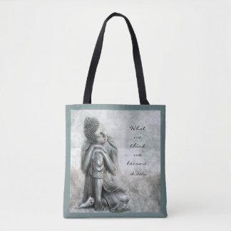 Friedlicher silberner Buddha mit Zitat Tasche