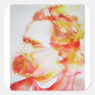 Friedrich nietzsche - Aquarell portrait.3 Quadratischer Aufkleber