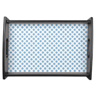 Friedvolles blaues Polka-Punkt-Serviertablett Tabletts