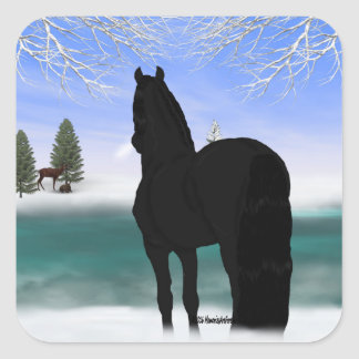 Friesisches Pferd im Winter Quadratischer Aufkleber
