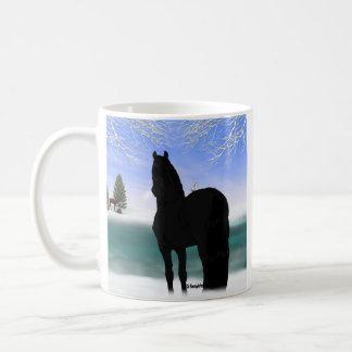 Friesisches Pferd im Winter Tasse
