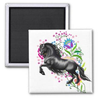 Friesisches Pferd, Stallion, die schwarze Quadratischer Magnet