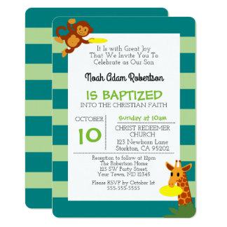 Frisbee-Dschungel-Affe-personalisierte Taufe 12,7 X 17,8 Cm Einladungskarte