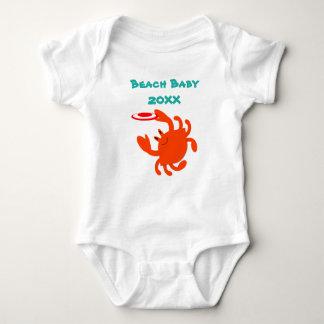 Frisbee-Krabben-Strand-Baby personalisiert Baby Strampler