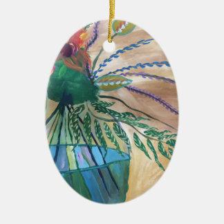 Frische Blumen Ovales Keramik Ornament