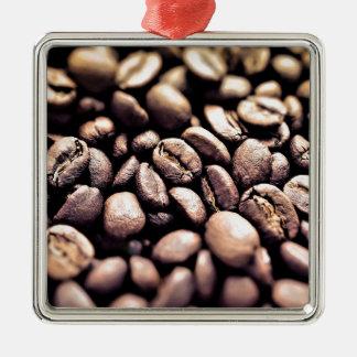 Frische gebratene Kaffeebohnen Silbernes Ornament