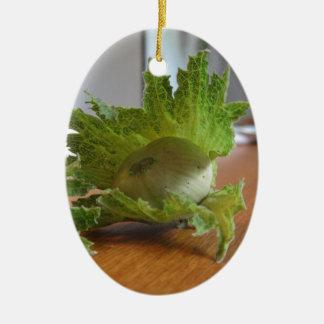 Frische grüne Haselnüsse auf einer hölzernen Keramik Ornament