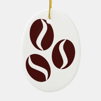 Frische Kaffeebohnen Ovales Keramik Ornament