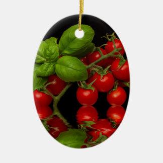 Frische rote Kirschtomaten Keramik Ornament