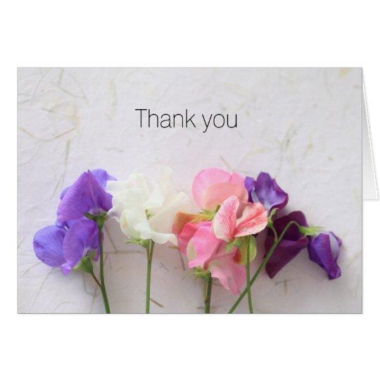 Frische süße Erbsen danken Ihnen Mitteilungskarte