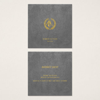 Friseur-Stylistluxusgolddunkelgrauer lederner Quadratische Visitenkarte