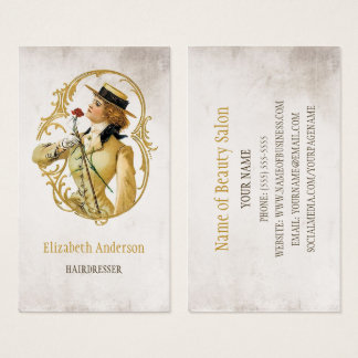 Friseur-Vintage Goldfrau der Mode Visitenkarte