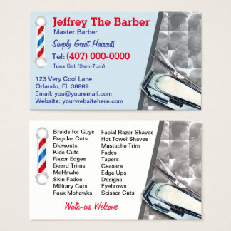 Friseursalon-Friseur (Friseurpfosten und -scherer) Visitenkarte