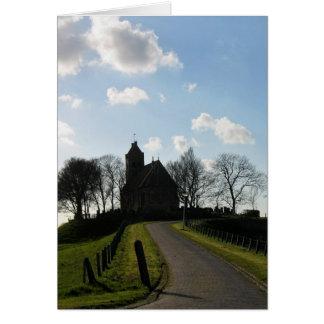 Frisiankirche auf Hügel in Friesland, Holland Grußkarte