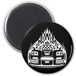 Frisiertes Auto Runder Magnet 5,7 Cm