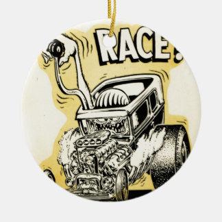 frisiertes Auto wollen, um Monster-Cartoon Rundes Keramik Ornament