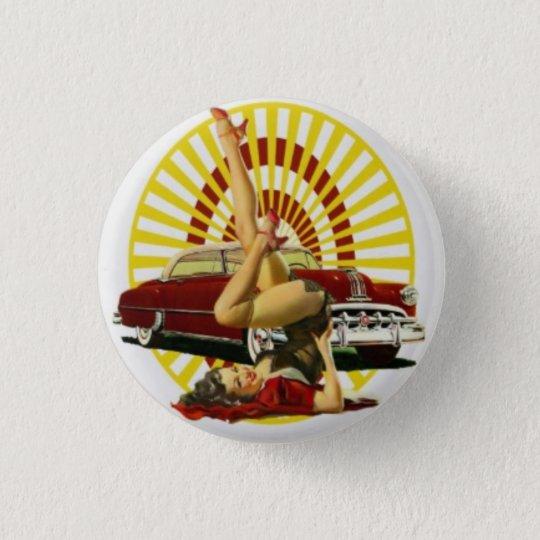 Frisiertes Autopinup-Mädchen-Knopf Runder Button 3,2 Cm