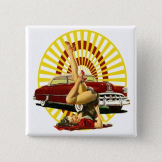 Frisiertes Autopinup-Mädchen Quadratischer Button 5,1 Cm